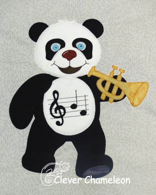 Musical panda appliqué by Dione of Clever Chameleon