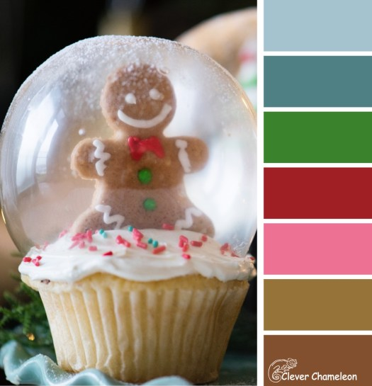 Gingerbread Snow globe cupcake colour scheme by Clever Chameleon