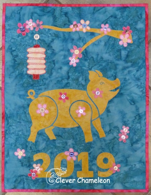 Year of the Pig mini quilt by Dione Gardner-Stephen at Clever Chameleon