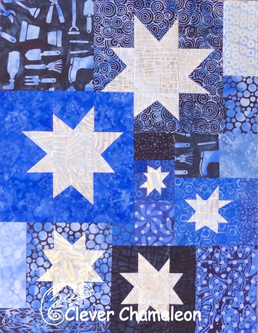 Wonky Stars quilt flimsy first section