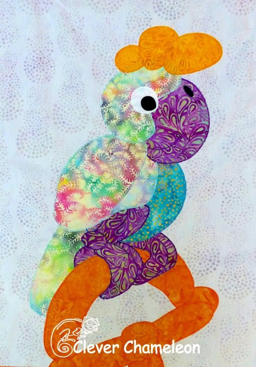 Articulate Avian balloon parrot appliqué by Dione Gardner-Stephen at Clever Chameleon