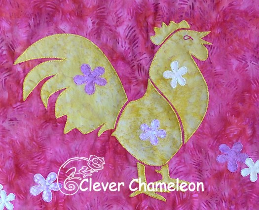 Year of the Rooster appliqué for the Lunarcy quilt at Clever Chameleon