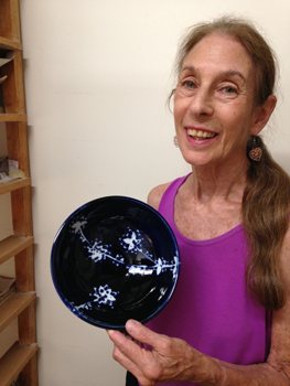 Reme Gold with one of her wax resist bowls.