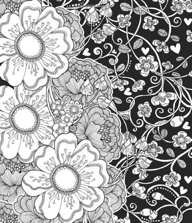 Creative Haven Midnight Garden Coloring Book: Heart & Flower Designs on a Dramatic Black Background (Creative Haven Coloring Books)