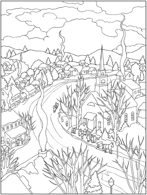 22 Christmas Coloring Books To Set The Holiday Mood Winter Scene Page