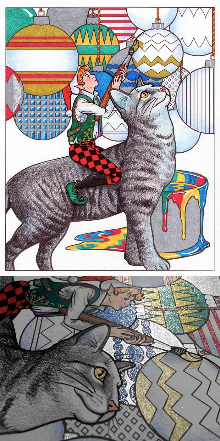 Santa's Cats: Adult Coloring Book. Sample page colored in by the author, Jason Hamilton.