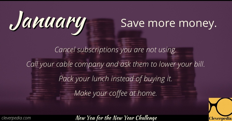 January's goal: Save more money! (New You for the New Year Challenge from Cleverpedia)