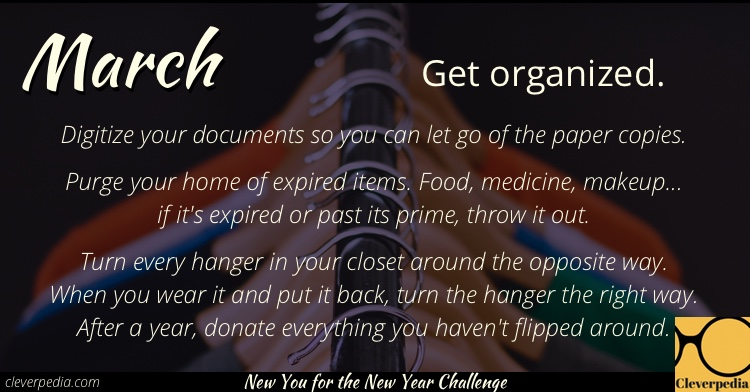 March's goal: Get organized! (New You for the New Year Challenge from Cleverpedia)