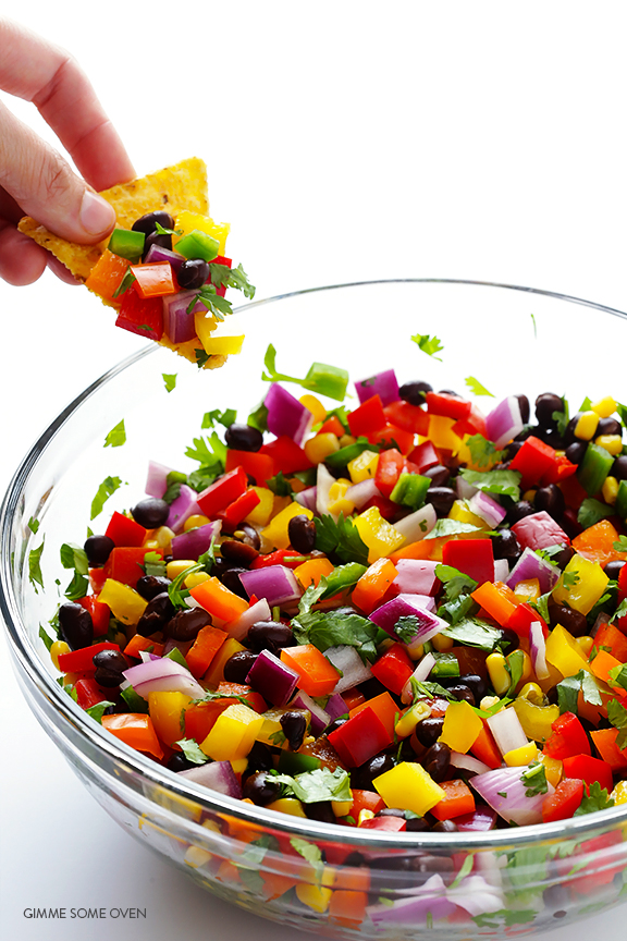 Rainbow salsa, perfect for wine and coloring night!