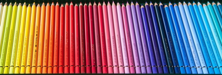 Polychromos colored pencils all lined up in rainbow order! Gorgeous!