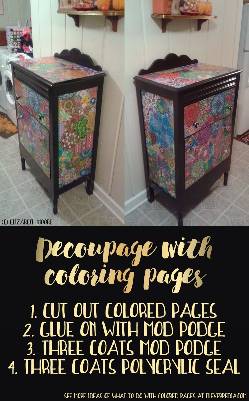 How to Decoupage a Dresser with Colored Pages -- Things To Do When You Finish Coloring a Picture