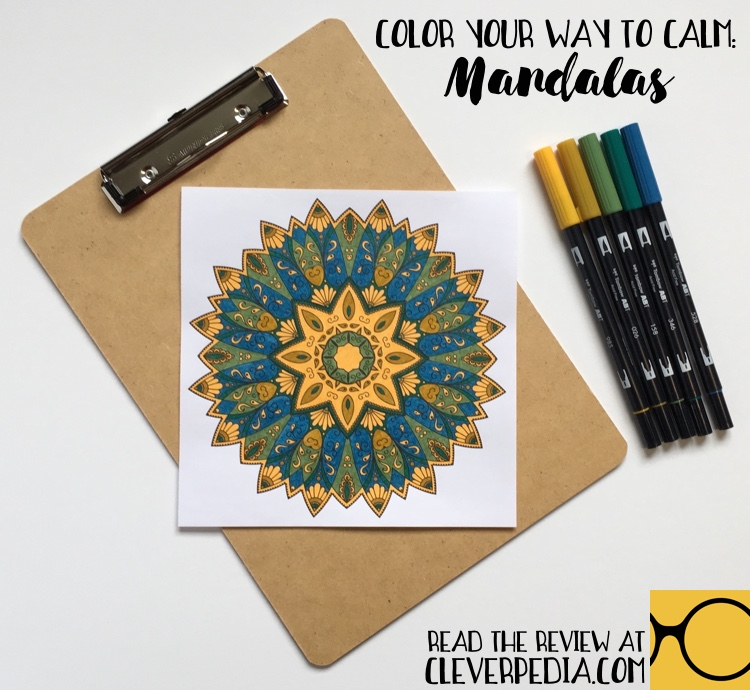 Page from Color Your Way to Calm: Mandalas colored by Adrienne at Cleverpedia using Tombow dual-ended brush pens.
