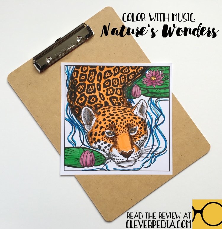 Page from Color With Music: Nature's Wonders colored by Adrienne at Cleverpedia using Tombow dual-ended brush pens.