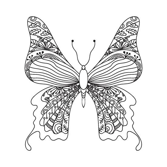 Color Your Way to Calm: Butterflies (Colored Pencils + Sharpener Included)
