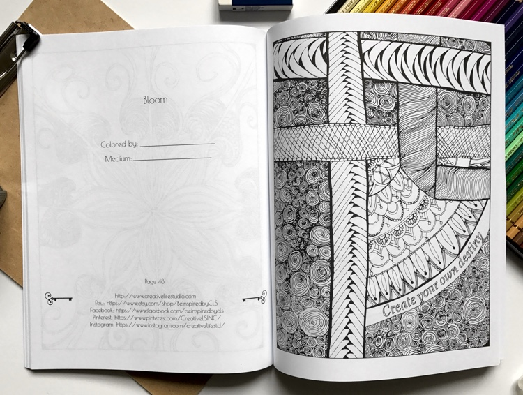 Page from Be Inspired: Adult Coloring Book for Stress Relief vol. 1