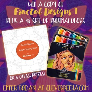 Fractal Designs 1 is an abstract, mandala style coloring book with pale outlines that disappear into your finished artwork. Check out the review and enter to win over $100 in prizes!
