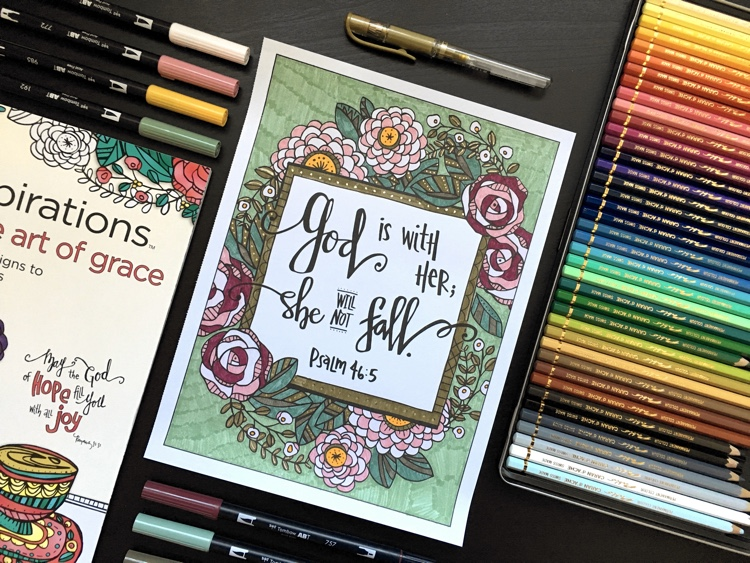 A page from Inkspirations: The Art of Grace, a Christian adult coloring book, colored by Adrienne from Cleverpedia!