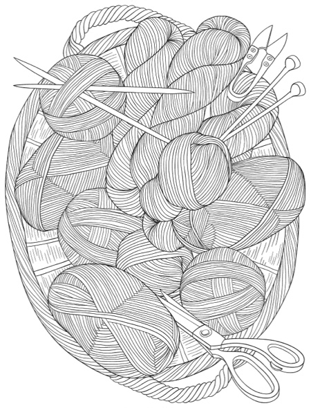 Creative Haven Knitting Notions Coloring Book