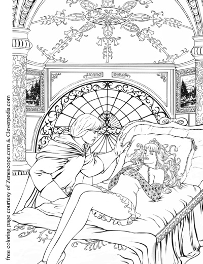 Free adult coloring book page courtesy of Cleverpedia and Zenescope!