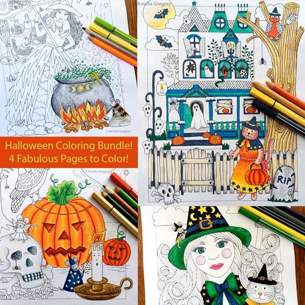 Halloween Coloring Page 4-Pack