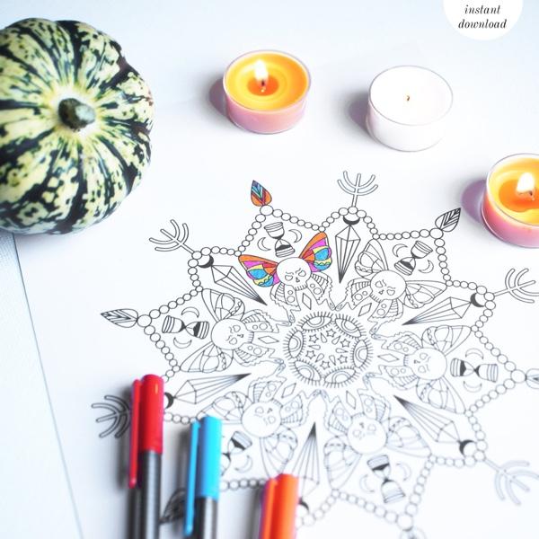 Halloween Doodle Mandala Coloring Page