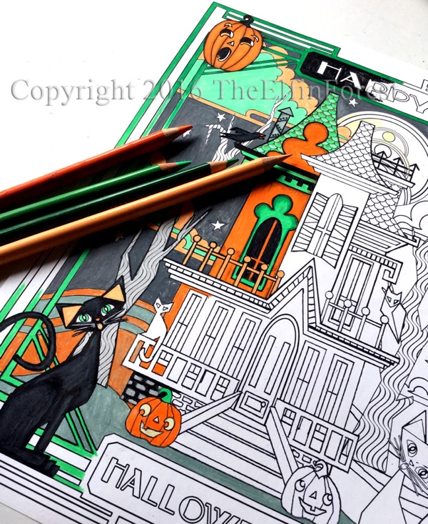 Halloween Haunted House Adult Coloring Page