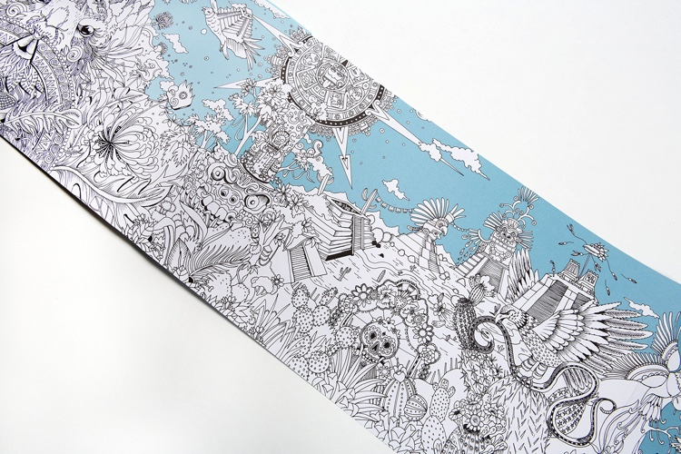 To the Ends of the Earth and Back Again: the longest adult coloring book in the world, folding out to 17 feet!