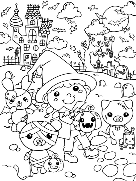 Kawaii Halloween: A Super Cute Holiday Coloring Book