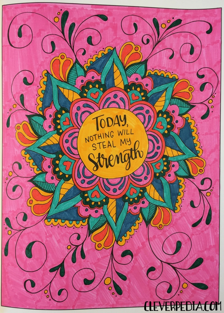 A page from Inkspirations for Breast Cancer Survivors colored by Adrienne from Cleverpedia!
