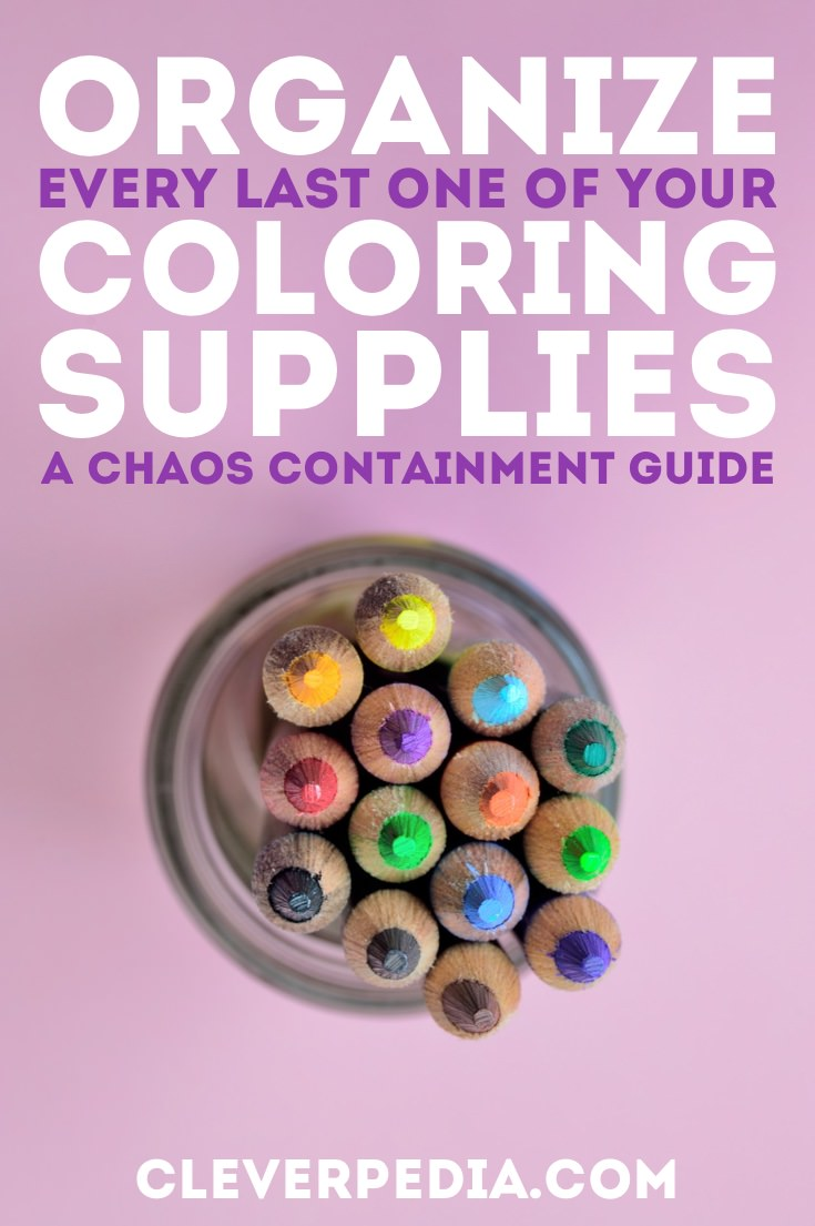 When you get into coloring books, it is easy for your supplies to get out of control! Reign in the chaos and organize your coloring supplies with this guide to all the organization options out there! Perfect for organizing colored pencils, markers, gel pens, and more.