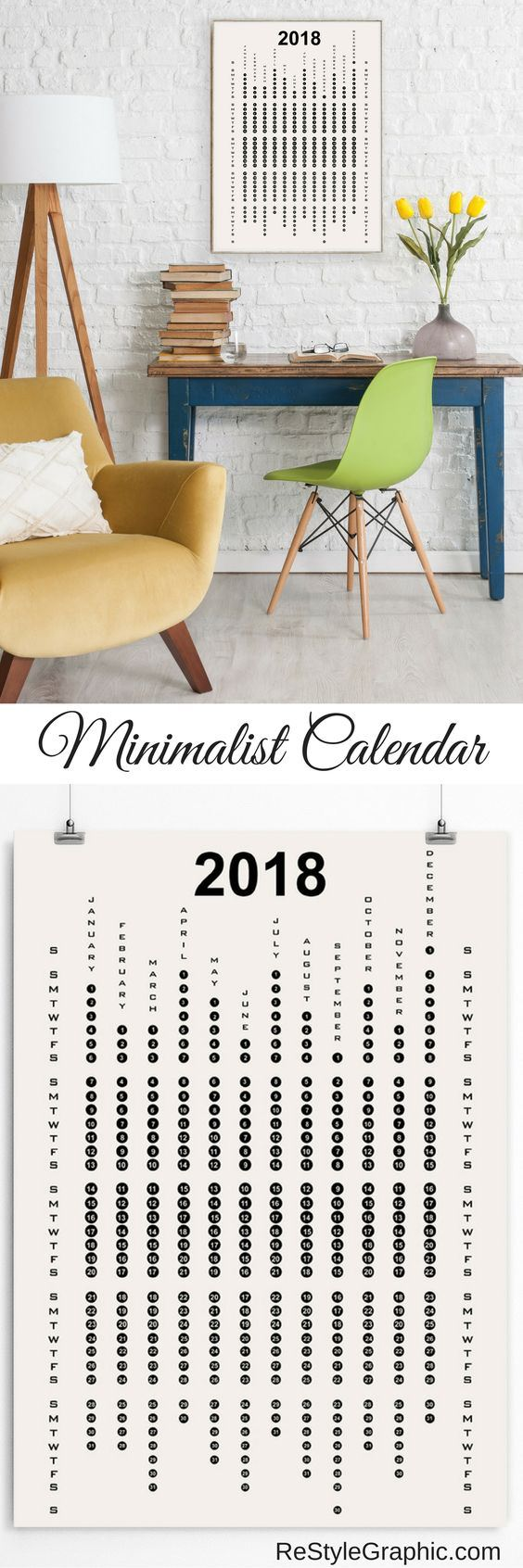 This poster-style calendar is available in black on white and white on black. The months are arranged vertically and grouped into weeks. If you prefer a minimalist look for your home, this calendar will be a great addition to the decor.