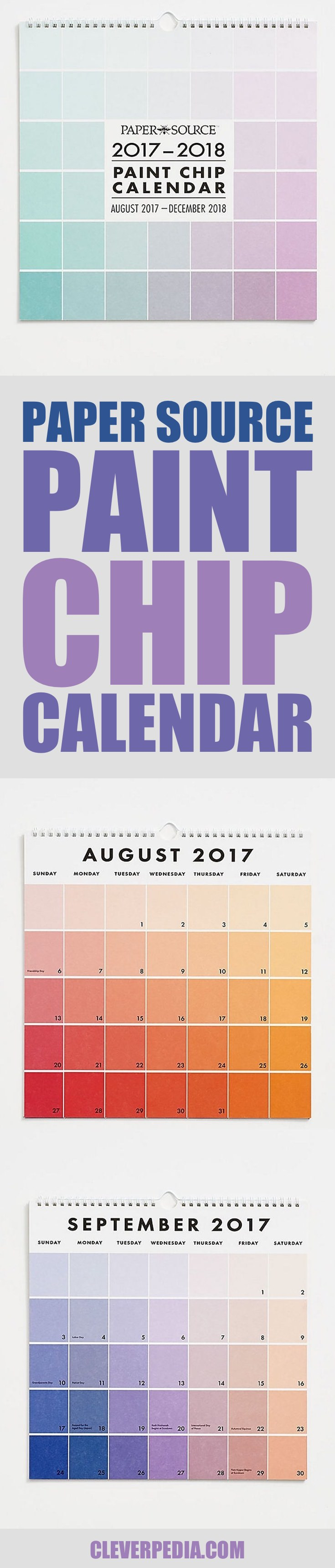 The Paper Source 2018 Paint Chip Wall Calendar features a gradient of paint chips spread across the appointment squares. This is a colorful calendar for creatives!