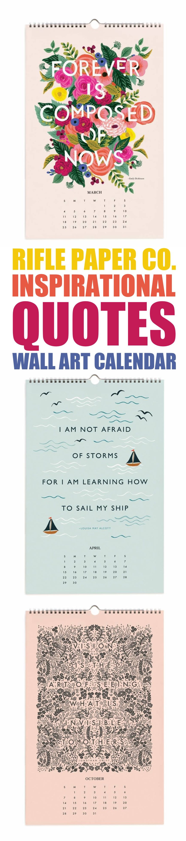 I love the new Rifle Paper Co inspirational quotes wall calendar! If you or your gift recipient loves florals and inspirational quotes, this is the perfect calendar for them!