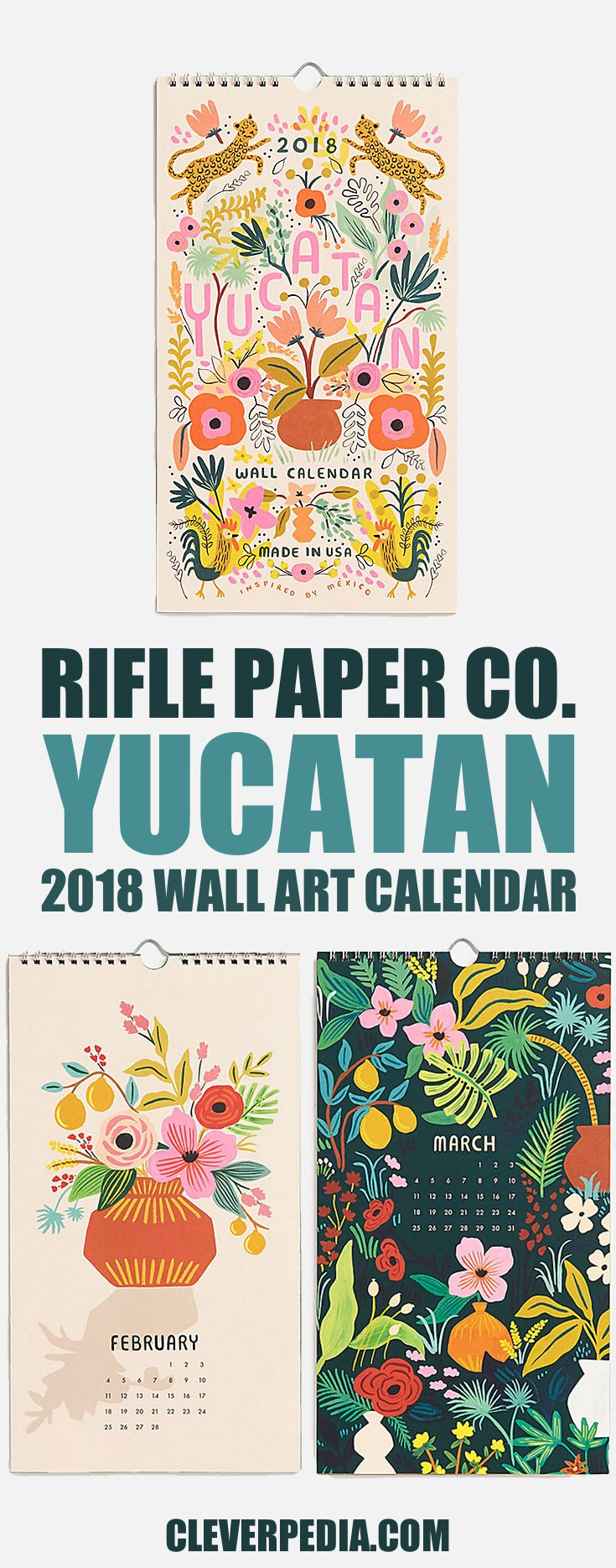 This beautiful spiral-bound wall calendar by Rifle Paper Co. includes 12 original illustrations inspired by Mexico and the Yucatan Peninsula. I love the playful flora and fauna designs in this cheerful calendar.
