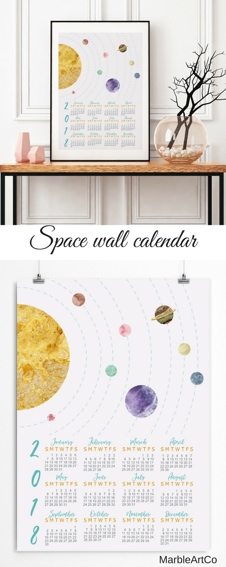 I love the collaged planets in this 2018 space art wall calendar! It features the full year's calendar, all on one print.