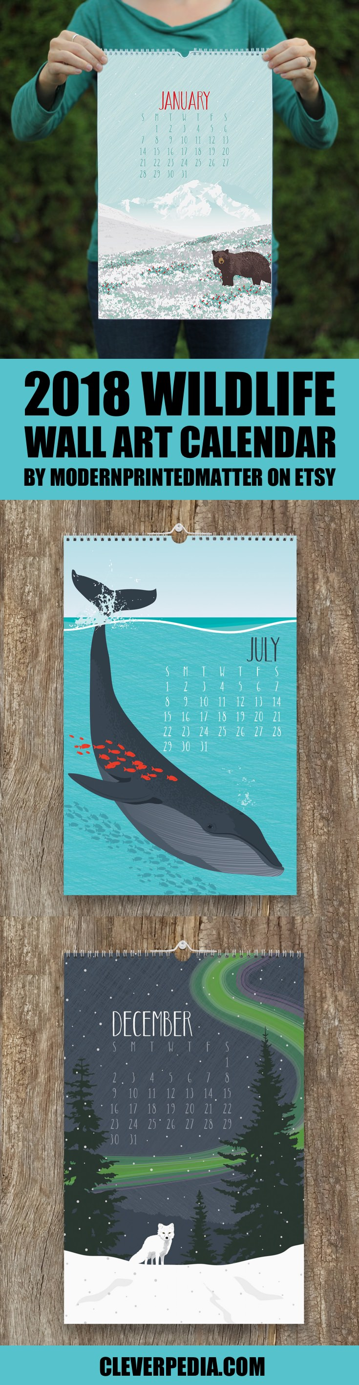 Looking for a handmade alternative to Paper Source and Rifle Paper Co.'s wall art calendars? I like this calendar by ModernPrintedMatter on Etsy, which features a variety of wildlife in their native environments. The animals included are grizzly bears, polar bears, sea otters, piping plover, gray wolf, desert tortoise, blue whale, Florida panther, midwestern moose, Indiana bat, spotted owl, and arctic fox.