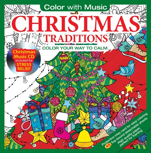 Christmas Traditions Adult Coloring Book With Bonus Relaxation Christmas Music CD