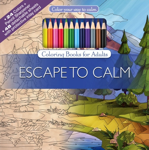Escape To Calm Adult Coloring Book Set With 24 Colored Pencils And Pencil Sharpener