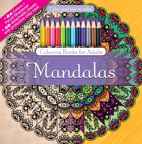 Mandalas Adult Coloring Book Set With 24 Colored Pencils And Pencil Sharpener