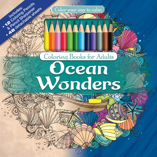 Ocean Wonders Adult Coloring Book Set With 24 Colored Pencils And Pencil Sharpener
