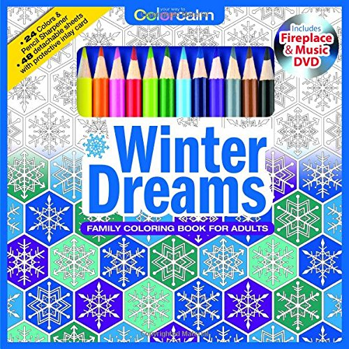 Winter Dreams Christmas Adult Coloring Book Set With 24 Colored Pencils, Pencil Sharpener And Fireplace And Music DVD