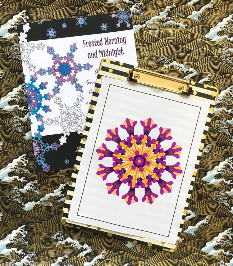 A page from Frosted Morning and Midnight colored by Adrienne from Cleverpedia! This adult coloring book features original geometric snowflake designs on both black and white backgrounds!