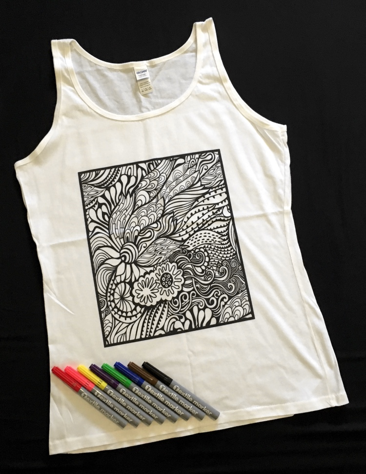 Doodlr Coloring Tank Top in Abstract Floral. These colorable clothes, aprons, tote bags, and pillow covers by ShirtBox make awesome gifts!