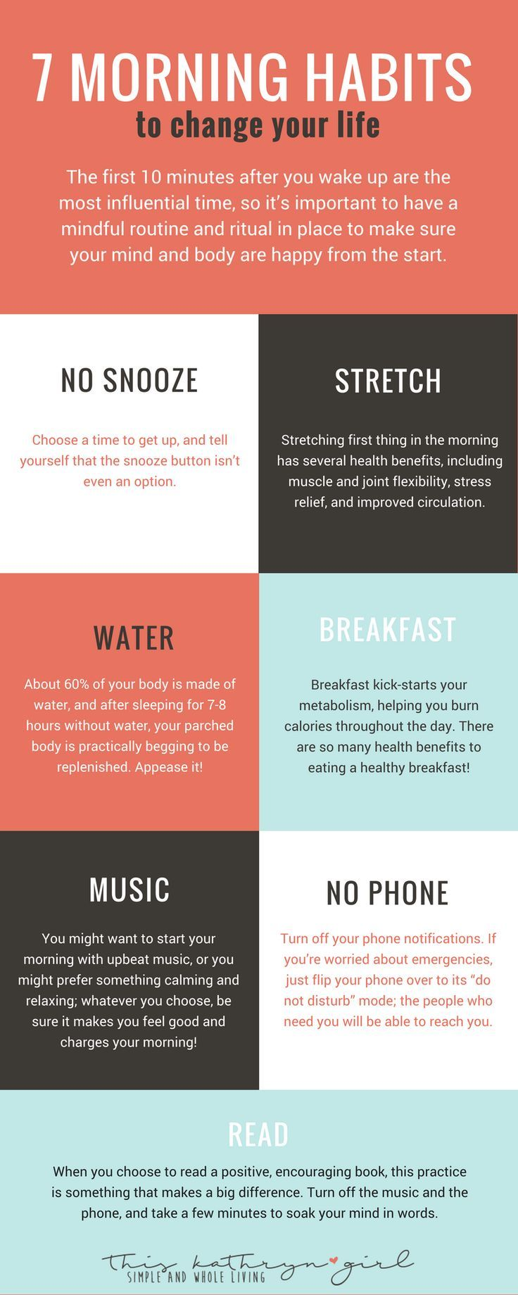 7 Morning Habits to Change Your Life: Your morning sets the tone for the rest of the day. Optimize that precious part of the day by creating a morning routine! This graphic includes 7 ideas to get you started.