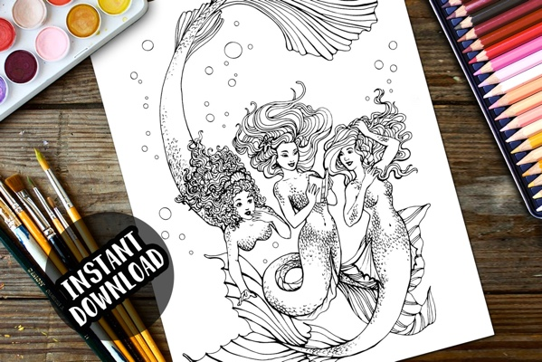 Mermaid Trio Coloring Page by HollyFaeArt (Print & Color)