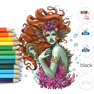 Sea Monster Mermaid Coloring Page by LineArtsy (Print & Color)