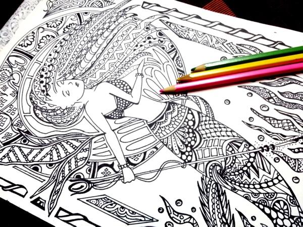 Printable Zentangle Mermaid Coloring Page By MessedUpImaginations