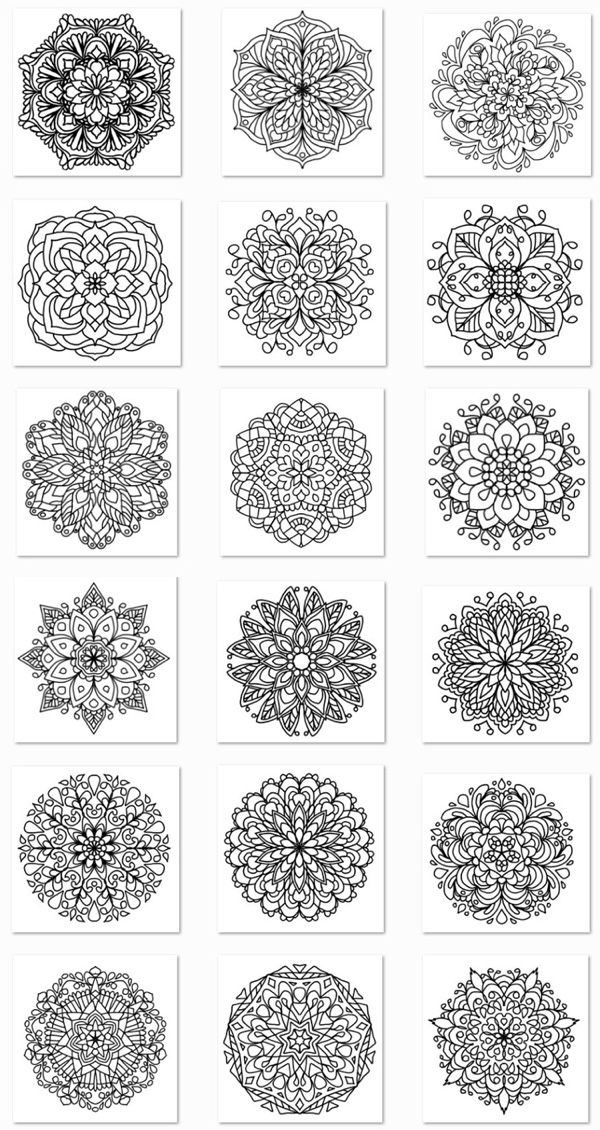 Mandala coloring pages from the book Simple Mandalas by Ligia Ortega