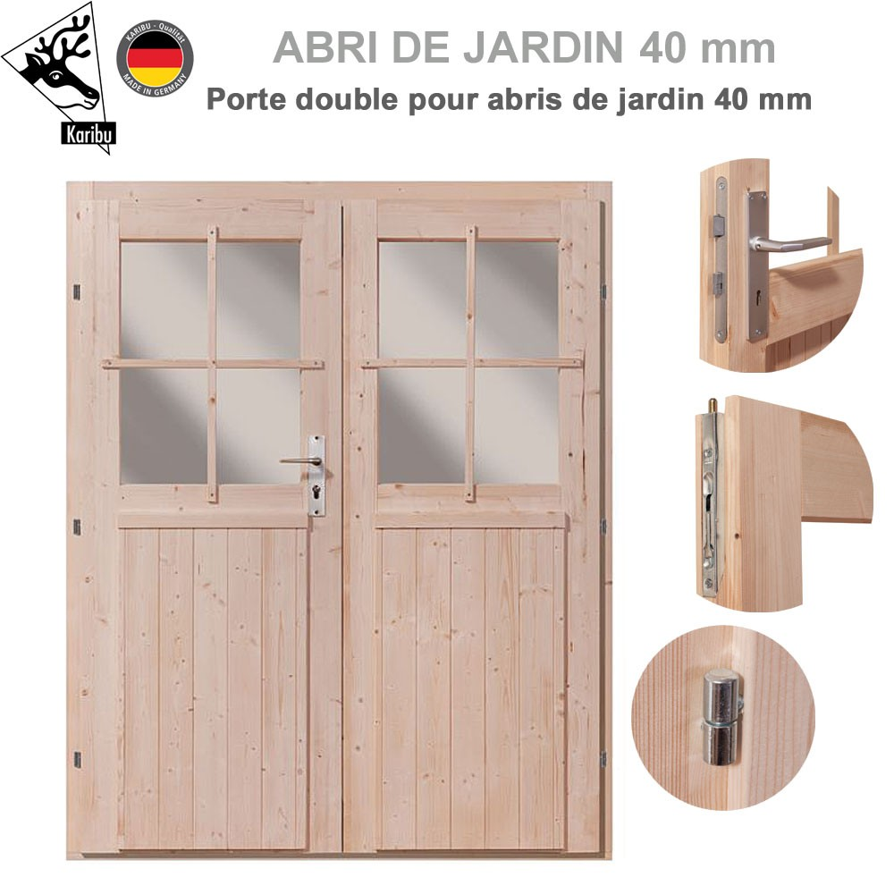 porte double 40 mm pour abri de jardin bois