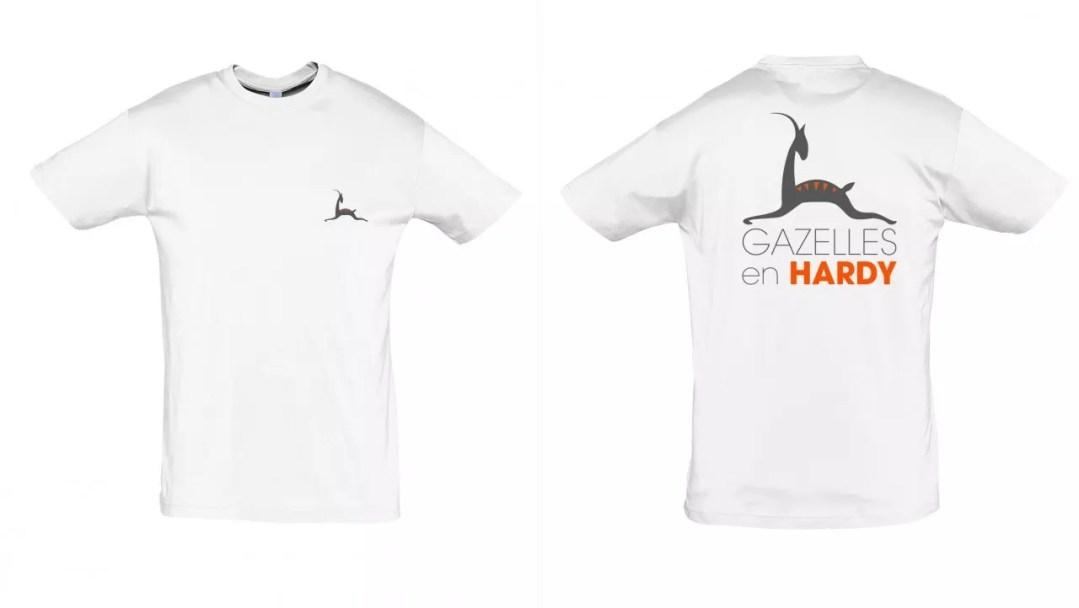 Tee-shirt_Gazelles en Hardy_Blanc Col rond
